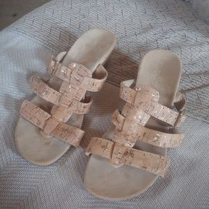 Vionic Sandals Size 10 Beige with Gold Accents